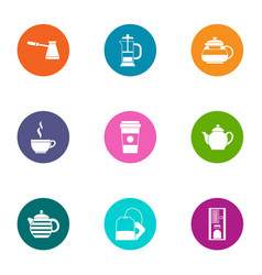 Cappuccino icons set flat style vector