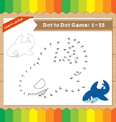 Cartoon Shark Dot to dot educational game for kids vector image