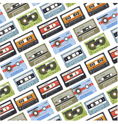cassette with music tapes with audio seamless vector image