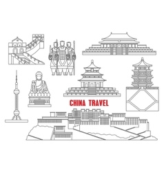 China landmarks thin line icons vector image
