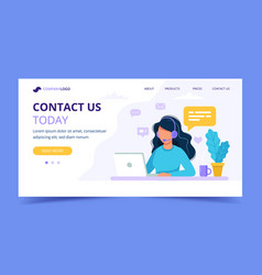 contact us landing page woman with headphones and vector image