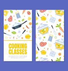 cooking class card template with kitchen utensils vector image