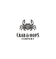 crab claw hops vintage beer brewing brewery logo vector image