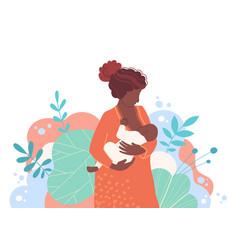 Cute mother breastfeeding her newborn baby vector