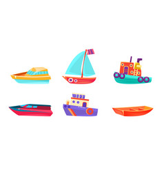 Cute water transport set boat yacht ship vector