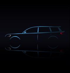 design blue estate car on black background vector image