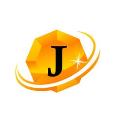diamond swoosh initial j vector image