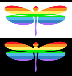 Dragonfly icon striped isolated element of vector