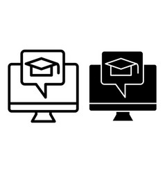 E-learning line and glyph icon monitor and vector