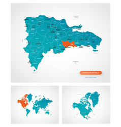 Editable template map dominican republic vector