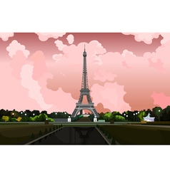 Eiffel Tower in Paris on a background of pink sky vector image