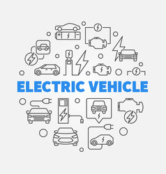 Electric vehicle round in line vector