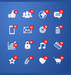 Facebook social network web icons set vector