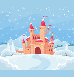 fairy tales winter castle magical snowy landscape vector image