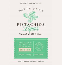 Family recipe pistachio nuts liquor acohol label vector