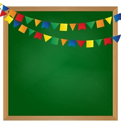 flag garland on blackboard vector image