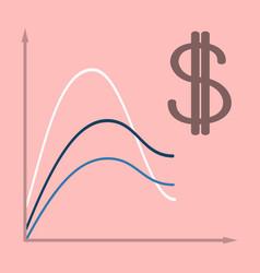 Flat icon on theme arabic business dollar chart vector