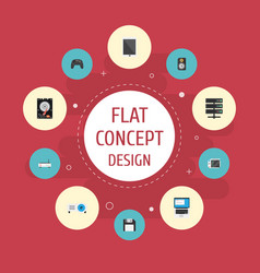 Flat icons presentation datacenter laptop and vector