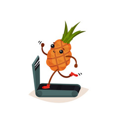 funny humanized pineapple running on treadmill vector image