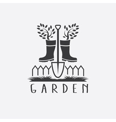 gardening concept with gumbootstree and shovel vector image