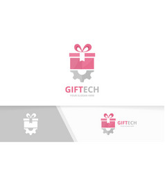 gift and gear logo combination present and vector image