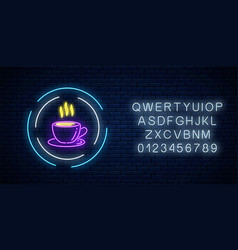 glowing neon coffee cup sign in circle frames vector image