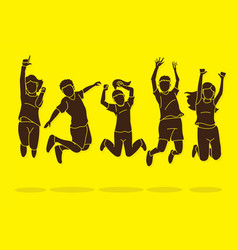 group children jumping happy feel good cartoon vector image