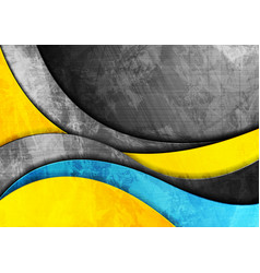 grunge wavy corporate yellow and blue background vector image