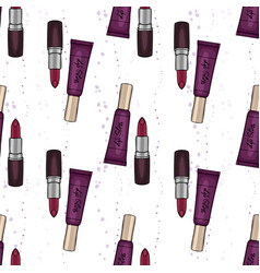 hand drawn lipstick and lop gloss vector image