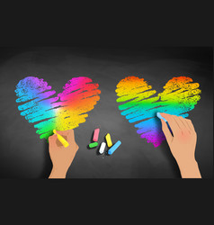 Hands drawing rainbow colored hearts vector