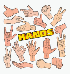 Hands gestures doodle with different signs vector