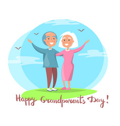 Happy grandparents day couple together outdoors vector
