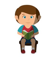 Happy little boy reading character vector