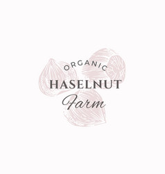 hazelnut farm abstract sign symbol or logo vector image