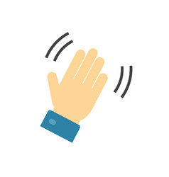hello and hi hand icon or bye waving gesture palm vector image