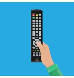 Human hand with black modern remote TV Control vector image