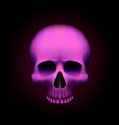human skull isolated on black color pink object vector image