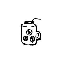 iced drink icon cold tea with lemon grunge ink vector image