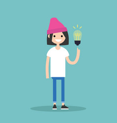 idea concept aha moment young smiling girl is vector image