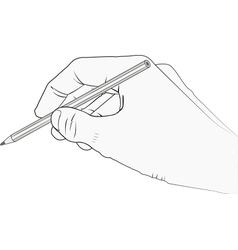Isolated hand with pencil vector