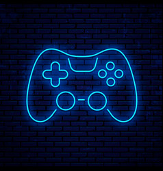 joystick icon neon sign design vector image