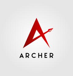 Letter a archer arrow head logo design vector