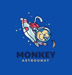 Logo monkey mascot cartoon style vector