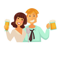Man and woman with glasses of beer with foam vector