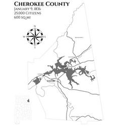 Map of cherokee county in alabama vector