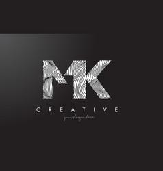 Mk m k letter logo with zebra lines texture vector