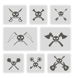 monochrome icons with skulls vector image