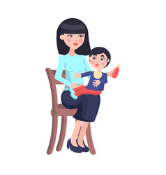 mother feeds baby boy with bottle on her lap vector image
