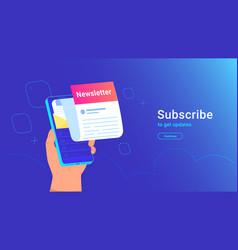 newsletter subcription online in mobile app vector image