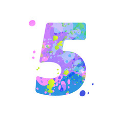 Number 5 with effect liquid spots paint vector